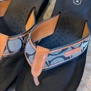 Coach Shoes - COACH Juliet black wedge flip flop sandals 8
